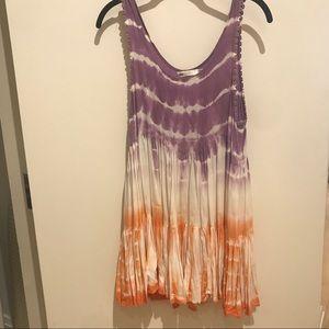 LF Orange and Purple White Tye Dye Flowy Dress